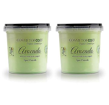 Cosmetofood | Cosmetofood Organic Avocado Body Yogurt, Moisturizer for Combination Skin with Fast Absorbing Non -Greasy, Pack of 2 -250 ml