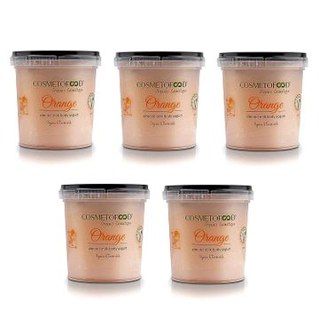 Cosmetofood | Organic Orange Body Yogurt, Body Moisturizer for Combination Skin with Fast Absorbing Non – greasy; Pack of 5-625ml
