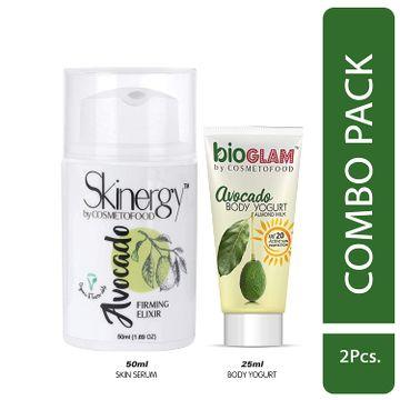 Cosmetofood   Cosmetofood Skinergy Avocado Firming Elixir Skin Serum With Avocado Body Yogurt, 75 ml