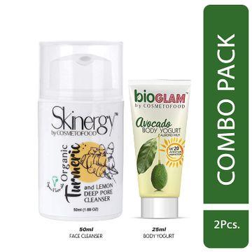 Cosmetofood | Cosmetofood Skinergy Organic Turmeric & Lemon Deep Pore Face Cleanser With Avocado Body Yogurt, 75 mL