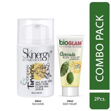 Cosmetofood | Cosmetofood Skinergy Organic Turmeric & Aloe Vera Clarifying Face Scrub With Avocado Body Yogurt, 75 mL