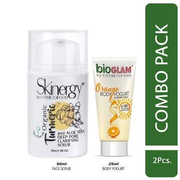 Cosmetofood | Cosmetofood Skinergy Organic Turmeric & Aloe Vera Clarifying Face Scrub With Orange Body Yogurt, 75 mL