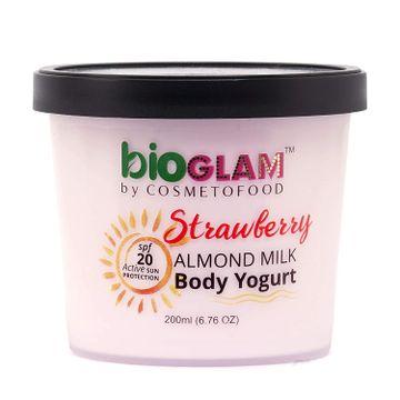 Cosmetofood | Cosmetofood Bioglam Organic Strawberry Body Yogurt with SPF 20, 200 mL