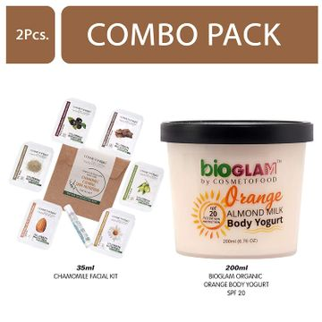 Cosmetofood | Cosmetofood Bioglam Organic Orange Body Yogurt SPF 20 With Chamomile Facial Kit, 235 mL
