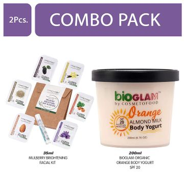 Cosmetofood | Cosmetofood Bioglam Organic Orange Body Yogurt SPF 20 With Mulberry Facial Kit, 235 mL