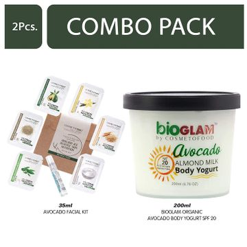 Cosmetofood | Cosmetofood Bioglam Organic Avocado Body Yogurt SPF 20 With Avocado Facial Kit, 235 mL