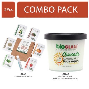 Cosmetofood | Cosmetofood Bioglam Organic Avocado Body Yogurt SPF 20 With Cinnamon Facial Kit, 235 mL