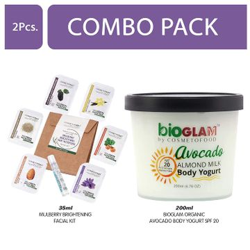 Cosmetofood | Cosmetofood Bioglam Organic Avocado Body Yogurt SPF 20 With Mulberry Facial Kit, 235 mL