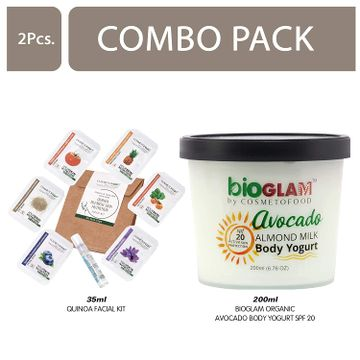 Cosmetofood | Cosmetofood Bioglam Organic Avocado Body Yogurt SPF 20 With Qunioa Facial Kit, 235 mL