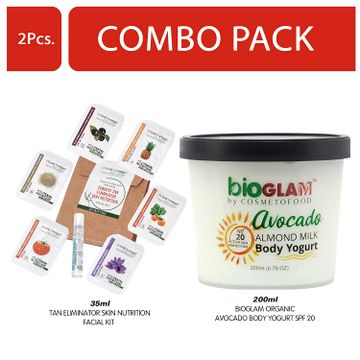 Cosmetofood | Cosmetofood Bioglam Organic Avocado Body Yogurt SPF 20 With Tomato Facial Kit, 235 mL
