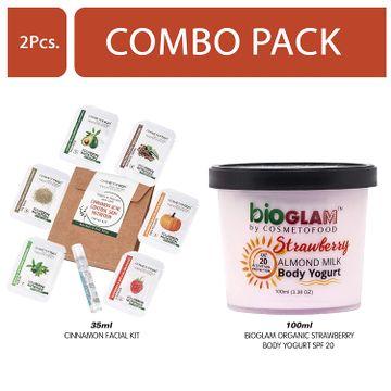 Cosmetofood | Cosmetofood Bioglam Organic Strawberry Body Yogurt SPF 20 With Cinnamon Facial Kit, 135 mL