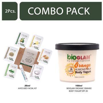 Cosmetofood | Cosmetofood Bioglam Organic Orange Body Yogurt SPF 20 With Avocado Facial Kit, 135 mL