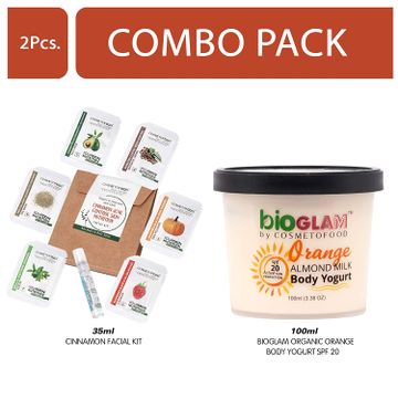 Cosmetofood | Cosmetofood Bioglam Organic Orange Body Yogurt SPF 20 With Chamomile Facial Kit, 135 mL