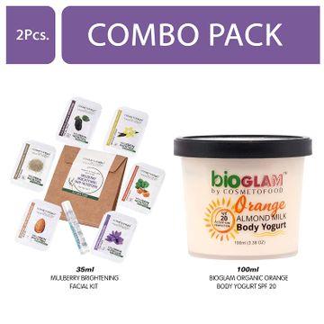 Cosmetofood | Cosmetofood Bioglam Organic Orange Body Yogurt SPF 20 With Mulberry Facial Kit, 135 mL