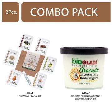 Cosmetofood | Cosmetofood Bioglam Organic Avocado Body Yogurt SPF 20 With Chamomile Facial Kit, 135 mL