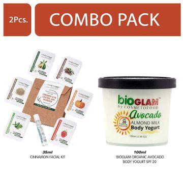 Cosmetofood | Cosmetofood Bioglam Organic Avocado Body Yogurt SPF 20 With Cinnamon Facial Kit, 135 mL