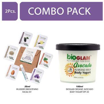 Cosmetofood | Cosmetofood Bioglam Organic Avocado Body Yogurt SPF 20 With Mulberry Facial Kit, 135 mL