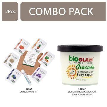 Cosmetofood | Cosmetofood Bioglam Organic Avocado Body Yogurt SPF 20 With Quinoa Facial Kit, 135 mL