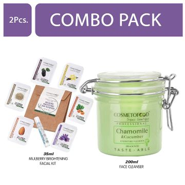 Cosmetofood | Cosmetofood Professional Combo Of Chamomile & Cucumber Hydrating Face Cleanser With Mulberry Facial Kit, 235 mL