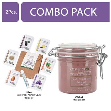 Cosmetofood | Cosmetofood Professional Combo Of Dark Chocolate Mousse Hydrating Face Cream With Mulberry Facial Kit, 235 mL