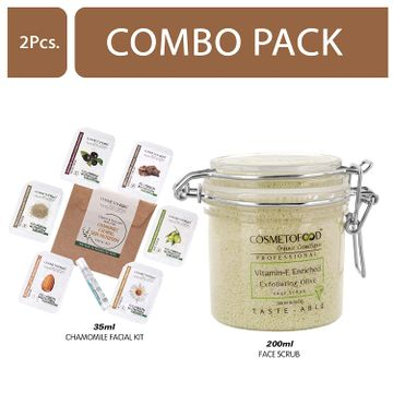 Cosmetofood | Cosmetofood Professional Combo Of Vitamin-E Enriched Exfoliating Olive Face Scrub With Chamomile Facial Kit, 235 mL