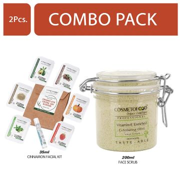 Cosmetofood | Cosmetofood Professional Combo Of Vitamin-E Enriched Exfoliating Olive Face Scrub With Cinnamon Facial Kit, 235 mL