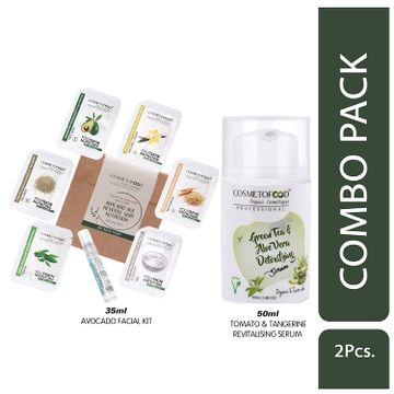Cosmetofood | Cosmetofood Professional Combo Of Green Tea & Aloe Vera Detoxifying Serum With Avocado Facial Kit, 85 mL
