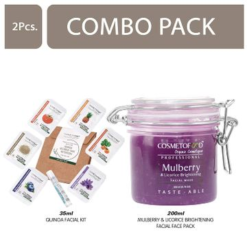 Cosmetofood | Cosmetofood Professional Combo Of Mulberry & Licorice Brightening Facial Face Pack With Quinoa Facial Kit, 235 mL