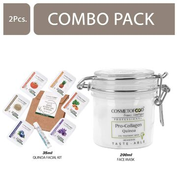 Cosmetofood | Cosmetofood Professional Combo Of Pro-Collagen Quinoa Mask For Dark Circles & Puffy Eyes With Quinoa Facial Kit, 235 mL