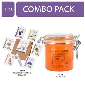 Cosmetofood | Cosmetofood Professional Combo Of Pumpkin & Aloe Vera Enzyme Skin Polisher Face Scrub With Mulberry Facial Kit, 235 mL