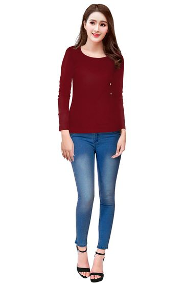 POONAM TEXTILE | Maroon Casual T-shirt