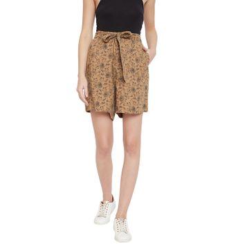 Crimsoune Club | Crimsoune Club Brown Printed Womens Shorts