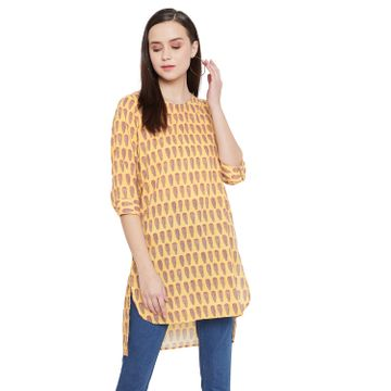 Crimsoune Club | Crimsoune Club Yellow Printed Womens Tunic
