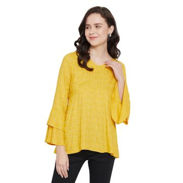 Crimsoune Club | Crimsoune Club Yellow Printed Womens Top