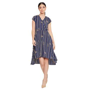 Crimsoune Club | Crimsoune Club Women's Navy Blue Striped Dress
