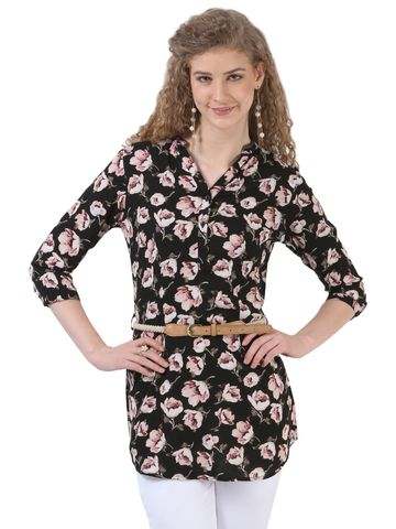 Crimsoune Club | Black and Pink Printed Tunic