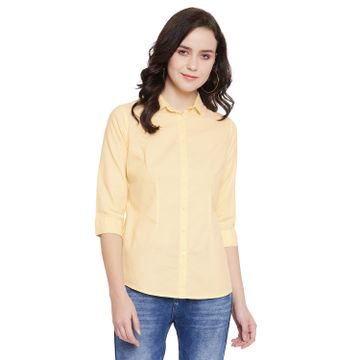 Crimsoune Club | Crimsoune Club Yellow Solid Womens Shirt