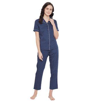Crimsoune Club | Crimsoune Club Navy Blue Printed Womens Night Suit