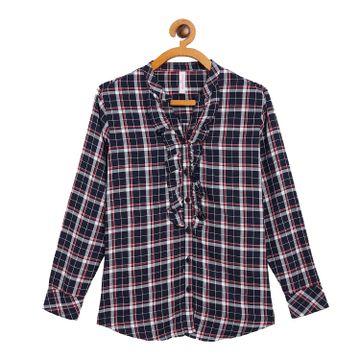 Crimsoune Club | Crimsoune Club Navy Blue Check Girls Shirt