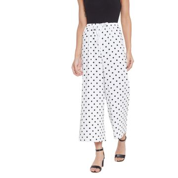 Crimsoune Club | Crimsoune Club Womens White Polka Dot Printed Parallel Trousers