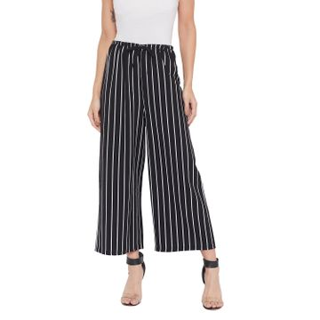Crimsoune Club | Crimsoune Club Womens Black Striped Parallel Trousers