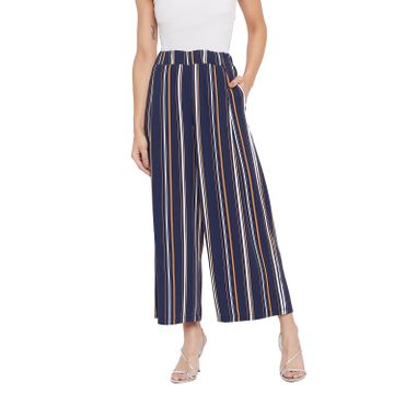 Crimsoune Club | Crimsoune Club Womens Navy Blue Striped Parallel Trousers