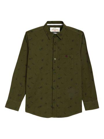 Crimsoune Club | Crimsoune Club Boy's Olive Printed Shirt