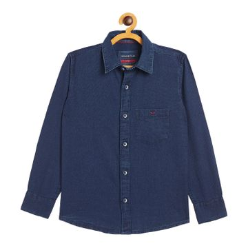 Crimsoune Club | Crimsoune Club Boy's Navy Blue Solid Casual Shirt