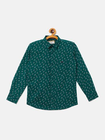 Crimsoune Club | Crimsoune Club Boy's Printed Dark Green Shirt