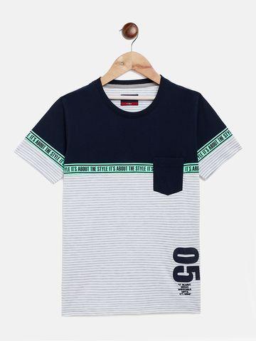 Crimsoune Club | Crimsoune Club Boy's Striped Navy Blue T-shirt