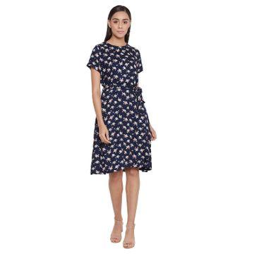 Crimsoune Club | Crimsoune Club Women's Printed Navy Blue Dress