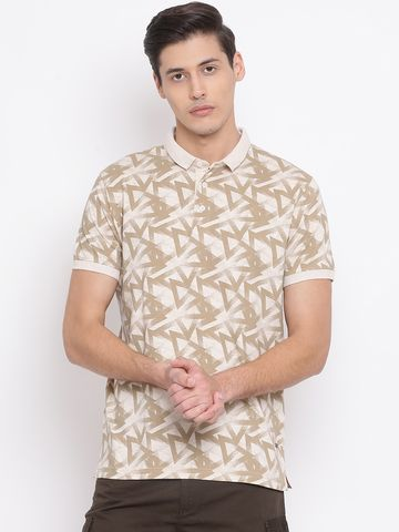 Crimsoune Club | Crimsoune Club Printed Beige Men's T-Shirt