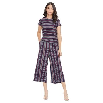 Crimsoune Club | Crimsoune Club Women's Navy Blue Striped Set Co-ord
