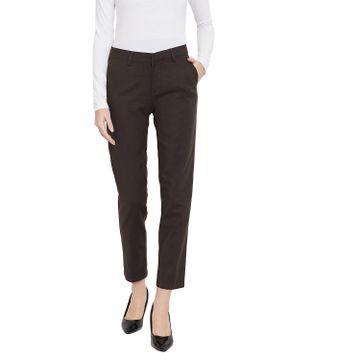 Crimsoune Club | Crimsoune Club Brown Solid Womens Trouser